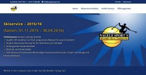 Webseite zu Skiservice und Skiverleih
